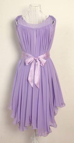 Pretty Lady. Purple Chiffon Wavy Hem Sleeveless Dress. Bridesmaids