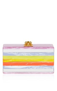 Jean Striped Short Rectangular Box Clutch by EDIE PARKER Now Available on Moda Operandi