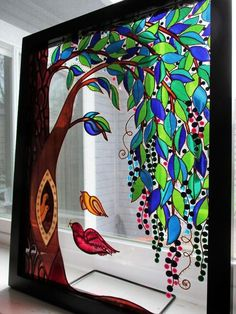 Family tree art Glass painting Wall decor Tree of life Abstract landscape Modern art Etsy Window decor Stained glass Glass art Sun catcher – Gardening for beginners and gardening ideas tips kids Stained Glass Paint, Stained Glass Crafts, Stained Glass Designs, Stained Glass Patterns, Glass Painting Patterns, Glass Painting Designs, Paint Designs, Art Soleil, L'art Du Vitrail