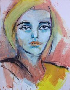 ARTFINDER: Portrait - Model #35 by richard  kuhn - acrylics on paper Größe/ Size: 65 x 50 cm / inch 25,6` x 19,7`