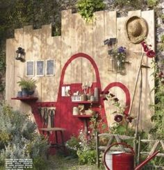 """Very cute idea ! Painted watering can on fence.See my board """"Colour My World"""" for other garden art Garden Crafts, Garden Projects, Yard Art, Outdoor Projects, Outdoor Decor, Garden Whimsy, Fence Art, Walled Garden, Dream Garden"""