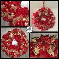 Beautiful handmade wreath in deco mesh, gold accents #arankaarts #christmasdecor #holidaydecorchristmas #christmaswreathsdiy Accessories Shop, Fashion Accessories, Fashion Rings, Fashion Jewelry, Deco Mesh, Home Decor Items, Ring Earrings, Handmade Christmas, Christmas Wreaths