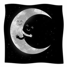 East Urban Home Moon Hug by Digital Carbine Fleece Blanket Size: 80'' L x 60'' W
