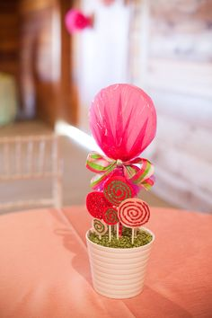 themed birthday parties, candy themed centerpieces, lollipop centerpiece, lollipop theme, candy centerpieces birthday, parti idea, birthdayparti