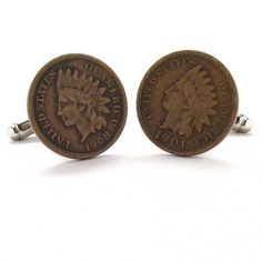 Indian Head Penny Cufflinks Cuff Links Coin Cowboy West Antique Vintage Suit Classic