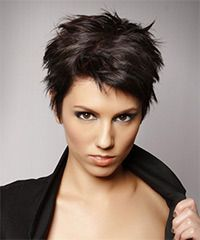 Salon Hairstyle: Casual Short Straight Hairstyle  This short dark brown pixie 'do is messed up with wax or moulding paste to achieve a funky shape full and texture and egde making it a great style to compliment a round face. This low-fuss hairdo needs regular trims every 4-6 weeks to maintain style.