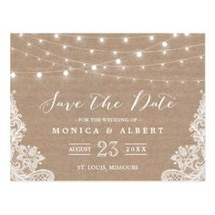 Burlap Save the Date Wedding Cards Rustic String Lights Burlap Lace | Save the Date Postcard