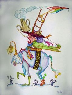 """Traveler"" original whimsical watercolor illustration from artist Marina Sciascia (USA)"