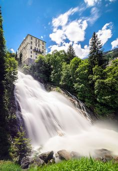 Bad Gastein Falls, Austria. The Falls in Bad Gastein which is situated in the Hohe Tauern National Park are unusual as they are situated in the center of the town and are framed by buildings. The town has been a spa for many years and has some beautiful Belle Époque buildings. The Gasteiner Ache falls 341m in three drops. (V)