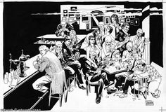 Eduardo Risso.  There is only one artist that can imbue this kind of life into a comic panel.  This is a very difficult scene to stage.  Think about how you would create this bar scene with all of its dimensions, add characters into the scene making sure to get their personality across, getting their clothes and demeanor right and also making the scene itself cinematic. This is shear complexity.
