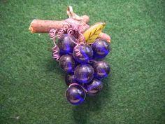 Cobalt Glass Bead Grape Pendant by JadeMoonJewelry on Etsy, $20.00