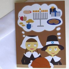 Thanksgivukkah Pilgrims/Thanksgivukkah card/Hanukkah by theJBKway, $3.50