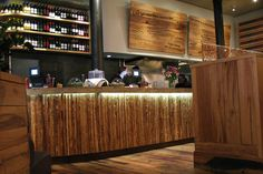 Restaurant Design LOVE THE BOARD MENUS, BAR FACE, AND WINE SHELVES