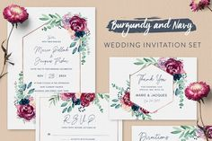 Burgundy Wedding Invitation Set by ClementineCreative on This wedding invitation set with burgundy and navy watercolour florals is perfect for a woodland, autumn or forest wedding. It includes a total of 10 inserts to complete your wedding day. Forest Wedding, Wedding Day, Wedding Venues, Wedding Gifts, Wedding Vows, Spring Wedding, Trendy Wedding, Luxury Wedding, Wedding Ring