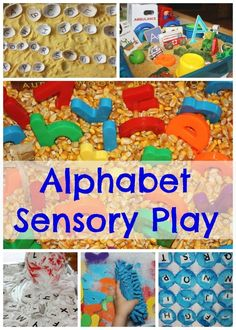 Lots of ways to learn the alphabet by using sensory play. ABC lids, magnets, in the bin and so much more. Great ideas to get your little one recognizing the alphabet. Alphabet Activities, Literacy Activities, Preschool Activities, Tactile Activities, Language Activities, Sensory Boxes, Sensory Play, Sensory Table, Learning The Alphabet
