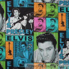 BonEful Fabric Cotton Quilt Elvis Presley Music Guitar US Patchwork VTG FQ SCRAP #VIPbyCranston