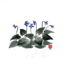 Original Art Parma Violets  Japanese sumi-e  asian by ZenPresent