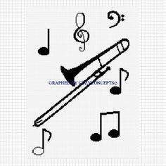 TROMBONE WITH MUSICAL NOTES BLANKET CROCHET AFGHAN PATTERN GRAPH  | CozyConcepts - Patterns on ArtFire Crotchet Patterns, Afghan Crochet Patterns, Cross Stitch Patterns, Knitting Patterns, Blanket Crochet, Crochet Ideas, Crochet Afghans, Cross Stitch Music, Pineapple Crochet