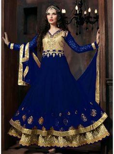 This Blue Colour Floor Length Designer Anarkali Salwar Kameez-4301-B