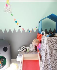 Play room...do the bottom gray part in chalkboard paint? i like the colorful dots string hanging down