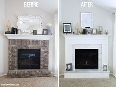 How to cover brick with wood and marble on this modern fireplace makeover     Intentionandgrace.com DIY's