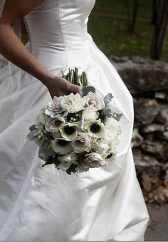 bridal bouquet white with black center of flowers | Choose White Flowers With Black Centers for Formal Weddings