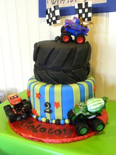 "Photo 5 of Mater Monster Truck Party / Birthday "" awesome cake! Cupcakes, Cupcake Cakes, Monster Truck Birthday, Monster Trucks, Monster Jam, Digger Cake, Truck Cakes, 2nd Birthday Parties, Birthday Ideas"