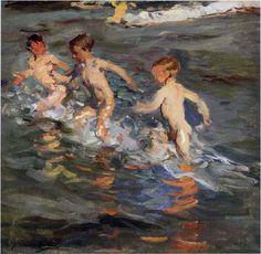 'enfants à l' plage', huile sur toile de Joaquin Sorolla Y Bastida (1863-1923, Spain)