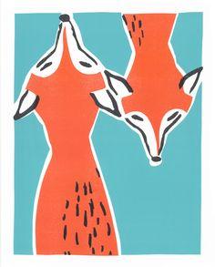 lino, print, illustration, fox, printmaking, colour, design, style, cute, drawing
