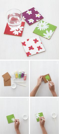 Spring will be blooming on your table top with these fun DIY painted coasters! Martha Stewart Crafts paint from @michaelsstores offers great coverage on cork and other indoor/outdoor surfaces.