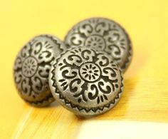 Damascene Carvings Metal Buttons , Antique Silver Color , Shank , 0.39 inch , 10 pcs  by Lyanwood, $5.00