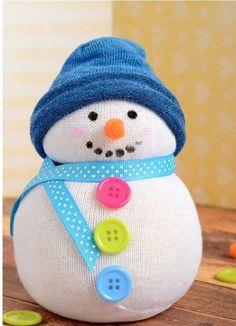No-Sew Sock Snowman Craft - Kids Crafts - Christmas Crafts - Easy Peasy and Fun Sock Snowman Craft, Penguin Craft, Sock Crafts, Snowman Crafts, Fun Crafts, Sewing Crafts, Winter Crafts For Kids, Crafts For Kids To Make, Christmas Crafts For Kids
