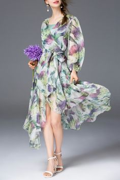 Sfeishow Green Asymmetric Colored Wrap Dress With Slip Dress   Midi Dresses at DEZZAL