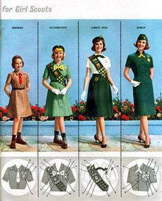 theswinginsixties: 1960s Girl Scout uniforms. My uniforms in the late sixties and early seventies were just like these.  I still have the sash, hat and tie.  My Mom was a scout leader, so the ones I outgrew were passed on to younger girls who couldn't afford to buy a new one.