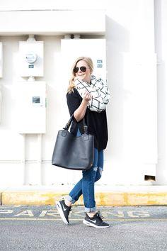 GiGi New York   Living In Color Print Fashion Blog   Black Olivia Shopper Tote
