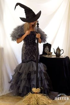 Wicked Witch Costume - DIY Wicked Witch Costume made from a thrift store wedding dress. Use some dye to transform a white wedding dress to a black witch costume for Halloween. This was so much easier to do than I thought it was going to be, the key to success is knowing what kind of dye to use on the material of the dress you choose!