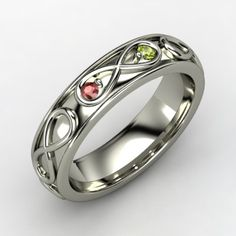 eternity band with garnet and peridot birth stones