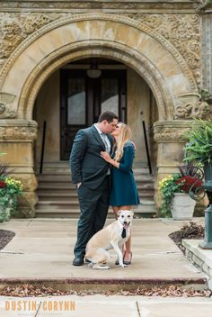 Leah and Gerry's engagement session in Fort Wayne! Had to sneak their dog in for a shot! - Dustin and Corynn, Engagement and Wedding Photographers