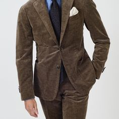 Mature Mens Fashion, Fashion Suits, Men Fashion, Smart Casual, Men Casual, Shirt And Tie Combinations, Brown Corduroy Jacket, Man Dressing Style, British Style
