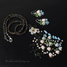 beadwoven set 'Garden in bloom' necklace & earrings