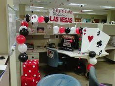 My coworker wanted to go to Las Vegas, so we decided to bring Las Vegas to our office, and this is the result of her party . We ju. Casino Royale Theme, Casino Theme Parties, Party Themes, Themed Parties, Party Ideas, Casino Party, Birthday Parties, Cubicle Birthday Decorations, Diy Party Decorations