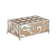 """Trish Silver Crackled Bronze 27"""" Wide Mirrored Jewelry Box (210 ILS) ❤ liked on Polyvore featuring home, home decor and jewelry storage"""