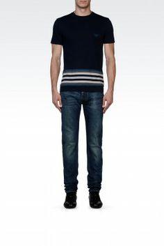 Camiseta Emporio Armani Men's Printed Cotton Crew Neck T-Shirt Dark Blue M1T25JM1Q4J1903 #Camisetas #EmporioArmani