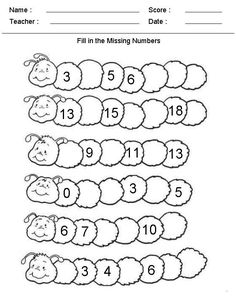 Fill in the Missing Numbers Kindergarten Worksheets - TONS of other free math printables on this site! Number Worksheets Kindergarten, Worksheets For Kids, In Kindergarten, Missing Number Worksheets, Addition Worksheets, Kindergarten Addition, Matching Worksheets, Spanish Worksheets, Phonics Worksheets