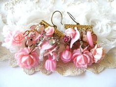 PINK THINGS earrings flower charm shabby chic by lilyofthevally, $38.00