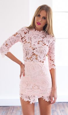 Light Pink 3/4 Sleeve High Neckline Lace Bodycon Dress #ustrendy www.ustrendy.com