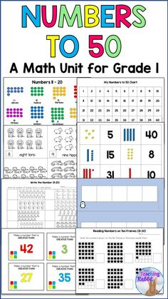 This Number Sense Unit has been updated for the Ontario Curriculum Expectations for Math (2020). It includes lesson ideas, worksheets, activities, centers, games, and a test.  It covers reading and representing, composing and decomposing, and comparing and ordering numbers up to 50. It also covers estimating the number of objects in collections up to 50.  #numbersense #numbersto50 #numbers #1stgrade Graphing Activities, Library Activities, Math Literacy, Math Resources, Classroom Activities, Classroom Ideas, 1st Grade Worksheets, 1st Grade Math, Grade 1