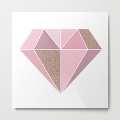 """Our metal prints are thin, lightweight and durable 1/16"""" aluminum sheet canvas. The high gloss finish enhances color and produces sharp image details. Each sheet has a 3/4"""" wooden frame attached to the back to offset from the wall. Prints have a wire or sawtooth hanger, depending on size selected.  A diamond shape with various rose gold shades and metallic glitter effect."""