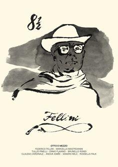 """Cover art for 8½ """"Otto e mezzo"""" - 1963 by Federico Fellini."""