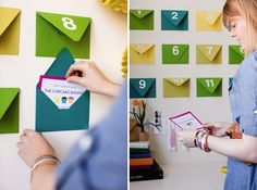 12 days of Christmas...... a cool way to do the coupon gift thing. put  envelopes on the wall, each with a surprise inside, and have recipient open  one each ...